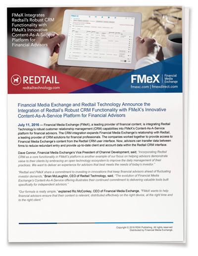 Redtail CRM Integration in FMeX's Platform