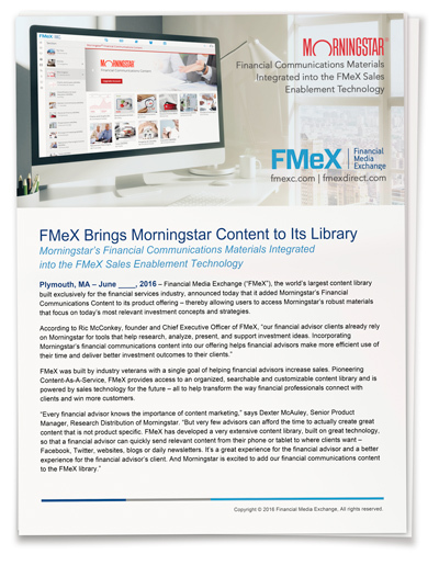 FMeX Brings Morningstar Content to Its Library