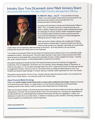 Industry Guru Tony DiLeonardi Joins FMeX Advisory Board