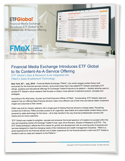 Financial Media Exchange Introduces ETF Global to Its Content-As-A-Service Offering
