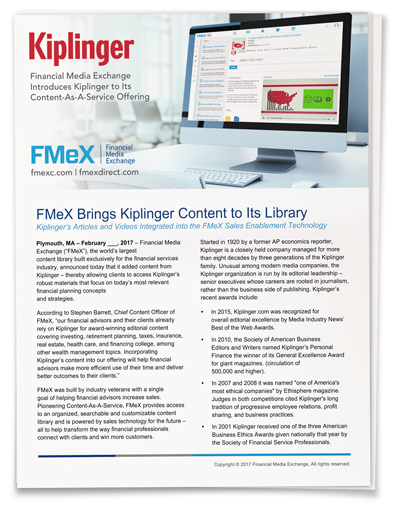 FMeX Brings Kiplinger Content to Its Library