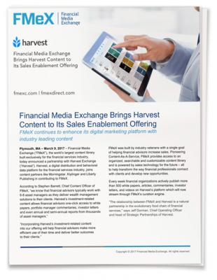 Financial Media Exchange Brings Harvest  Content to Its Sales Enablement Offering
